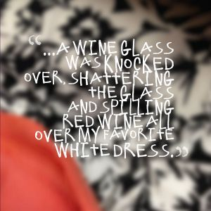 wine on dress